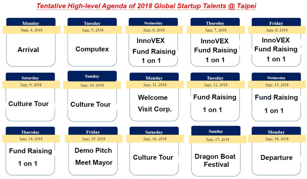 Agenda of 2018 Global Startup Talents Taipei